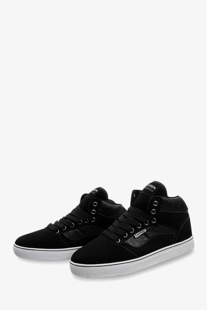 High Top Suede Sneakers In Black