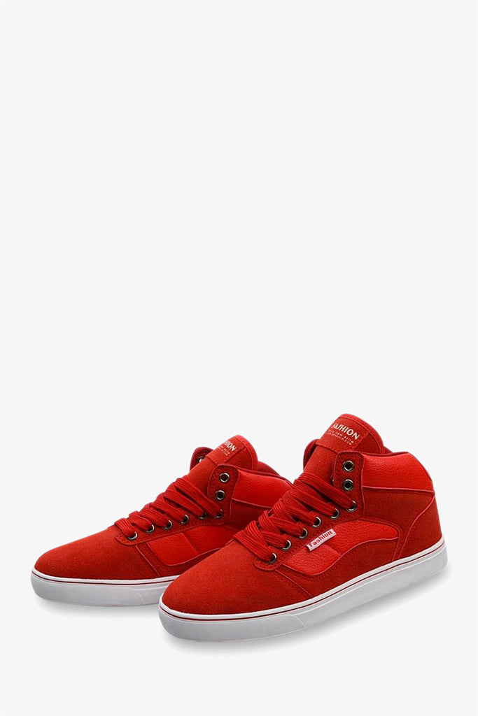 High Top Suede Sneakers In Red