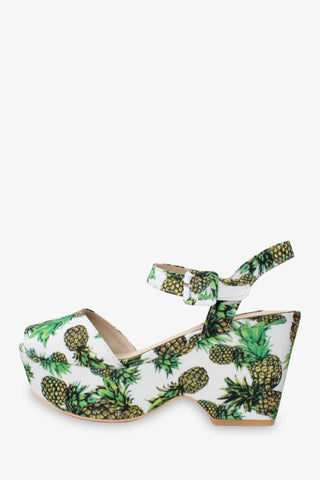 '70s Pineapple Pattern Platform Wedges