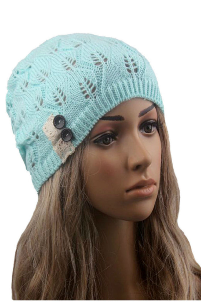 Pastel Blue Buttons And Lace Hollow Out Knitted Beanie