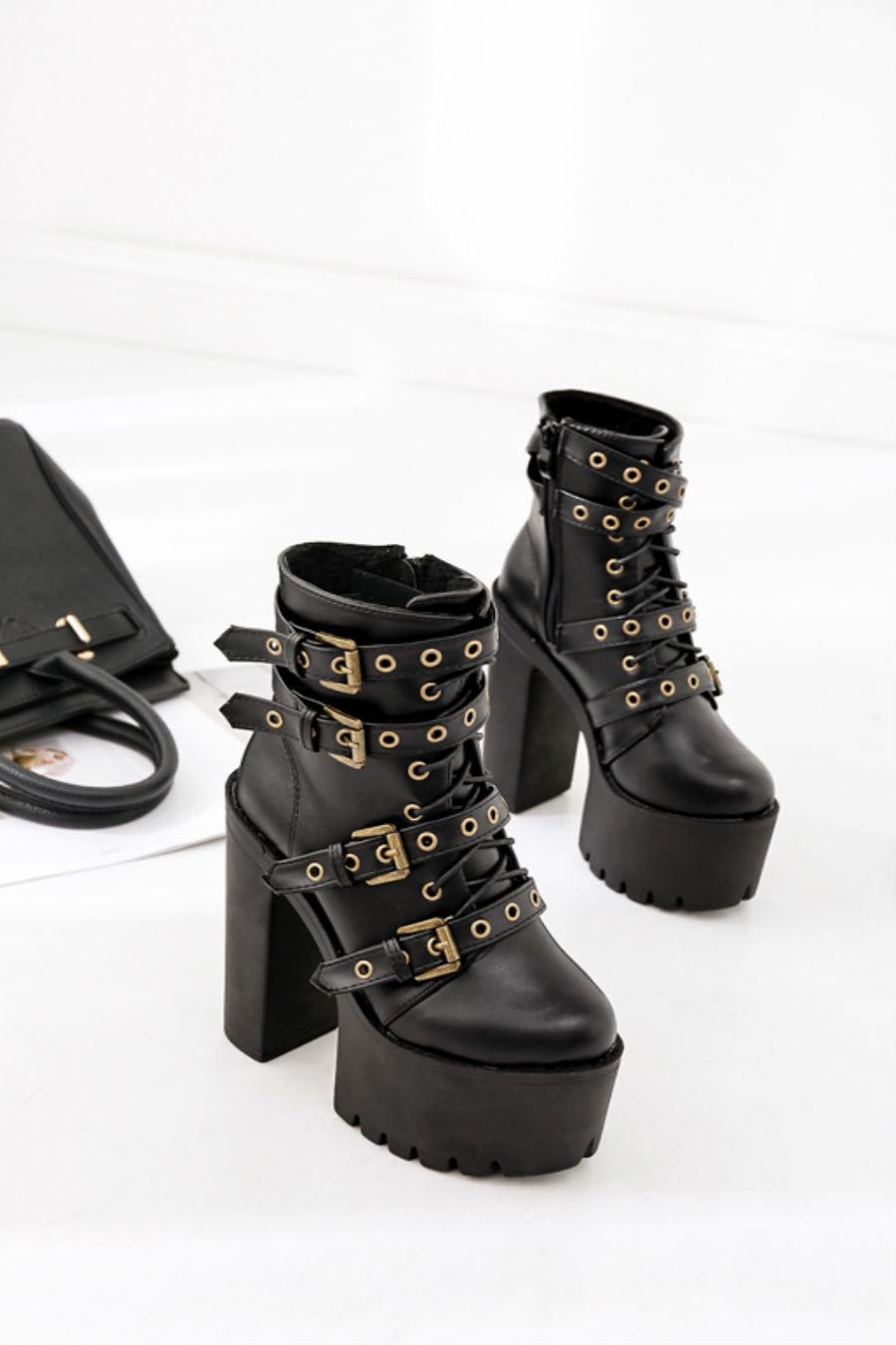 Punk Black Buckle Heeled Boots