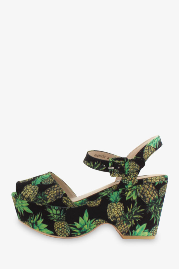 Pineapple Pattern Platform Sandals