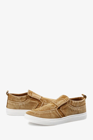 Jean Styled Canvas Sneakers In Tan
