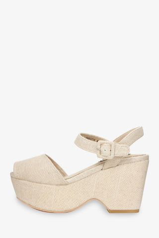 '70s Cream Platform Wedges