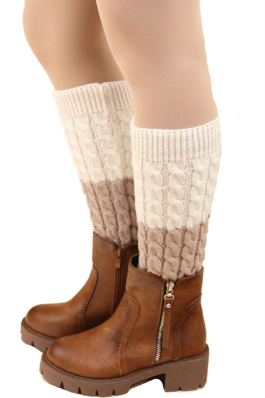 White And Beige Cable Knit Boot Cuffs