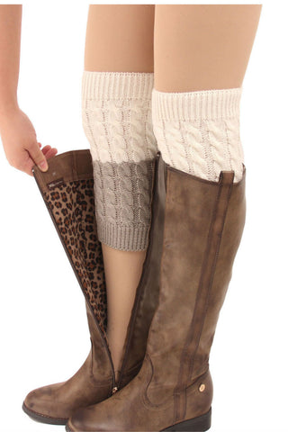 White And Gray Cable Knit Boot Cuffs