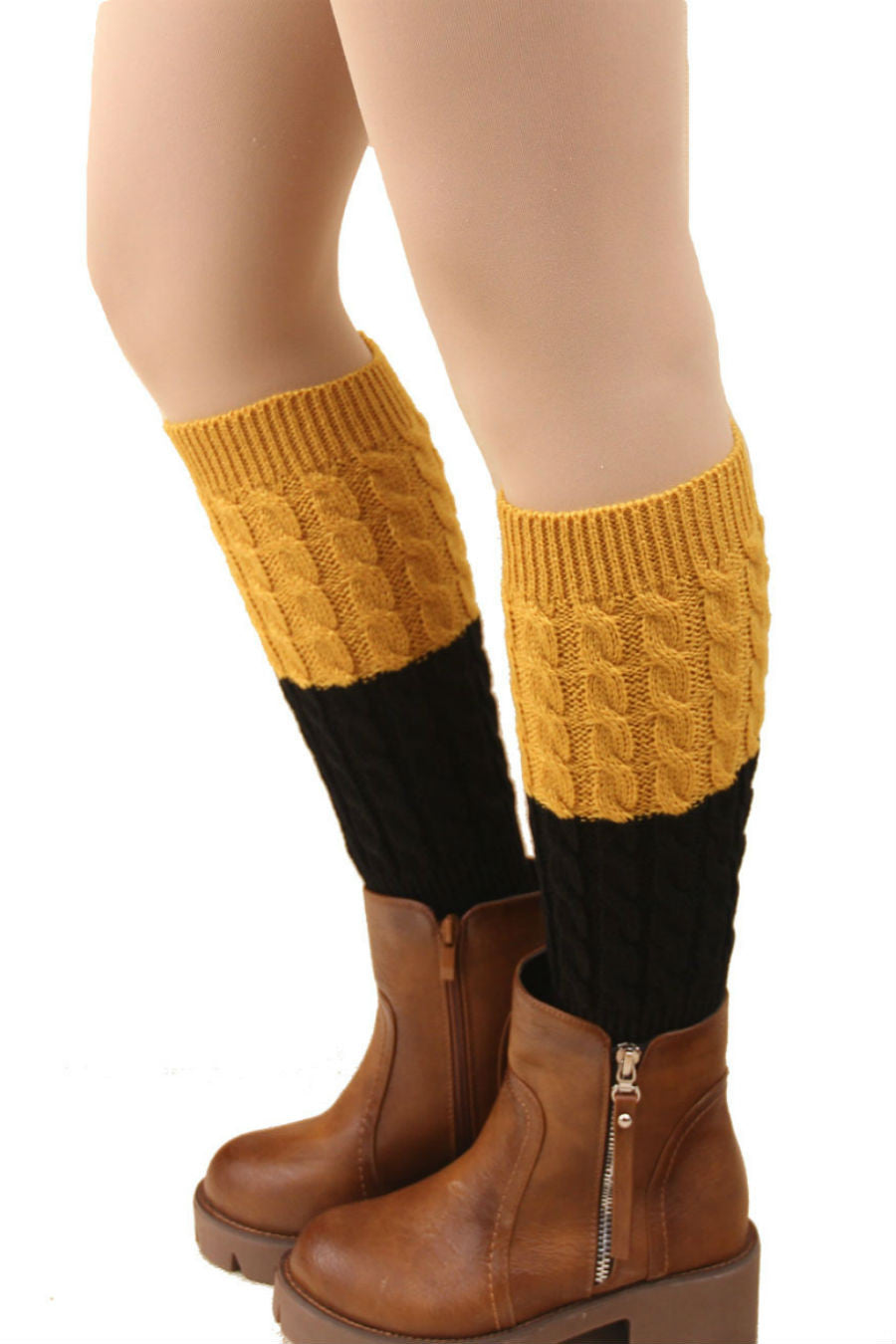 Orange And Black Cable Knit Boot Cuffs