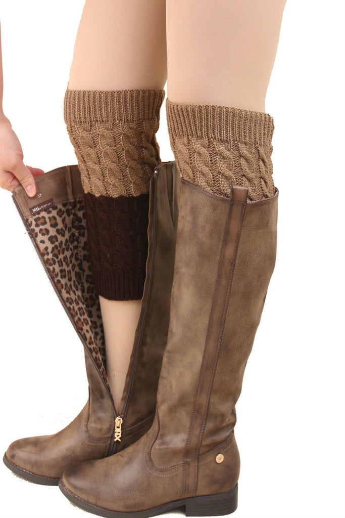 Khaki And Brown Cable Knit Boot Cuffs