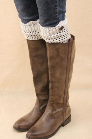 White Crochet One Button Boot Cuffs