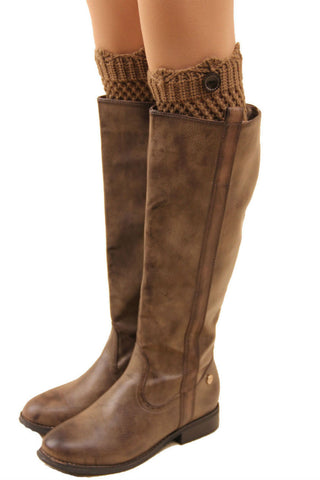 Brown Crochet One Button Boot Cuffs