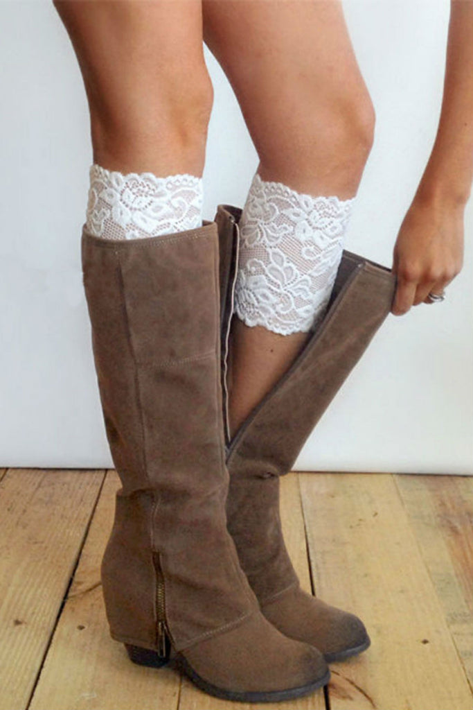 White Lace Boot Cuffs