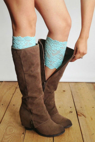 Mint Lace Boot Cuffs
