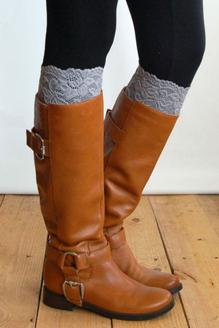 Gray Lace Boot Cuffs