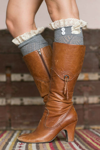 Cute Gray Boot Cuffs With Crochet Top
