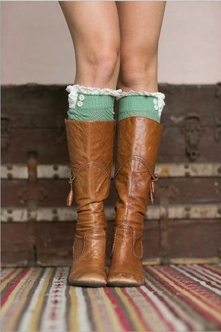 Cute Green Boot Cuffs With Crochet Top