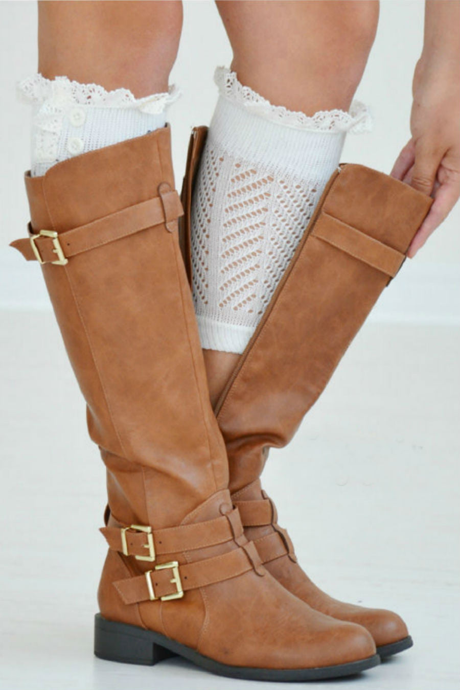 Cute White Boot Cuffs With Crochet Top
