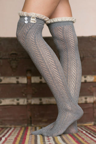 High Boot Socks With Lace Trim
