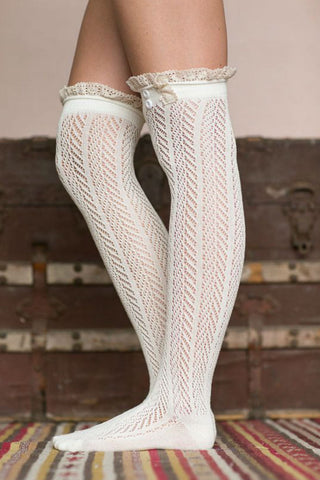 White Thigh High Boot Socks With Lace Trim