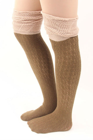 Beige Two Toned Boot Socks