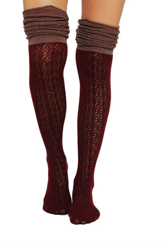 Burgundy Two Toned Boot Socks