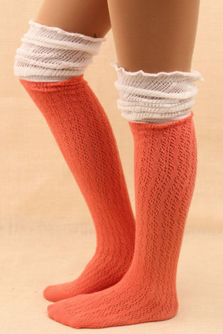 White And Pink Slouchy Two Toned Boot Socks
