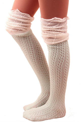White And Mint Slouchy Two Toned Boot Socks