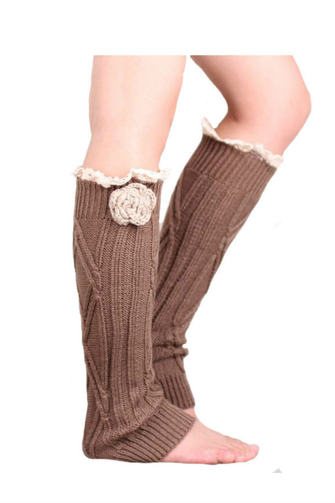 Retro Brown Lace Floral Decorated Knitted Leg Warmers