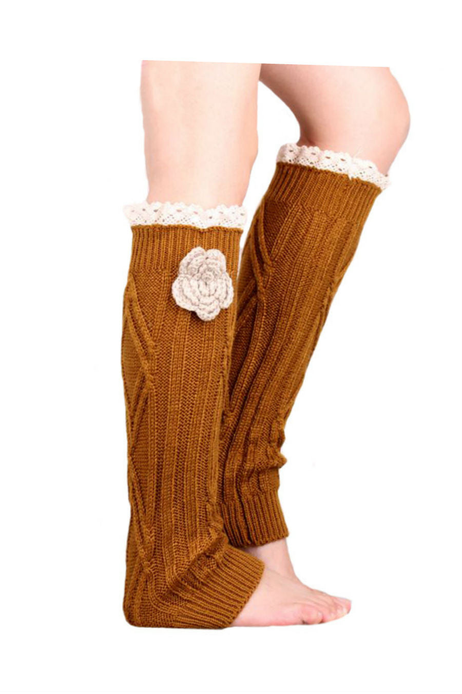 Retro Khaki Lace Floral Decorated Knitted Leg Warmers