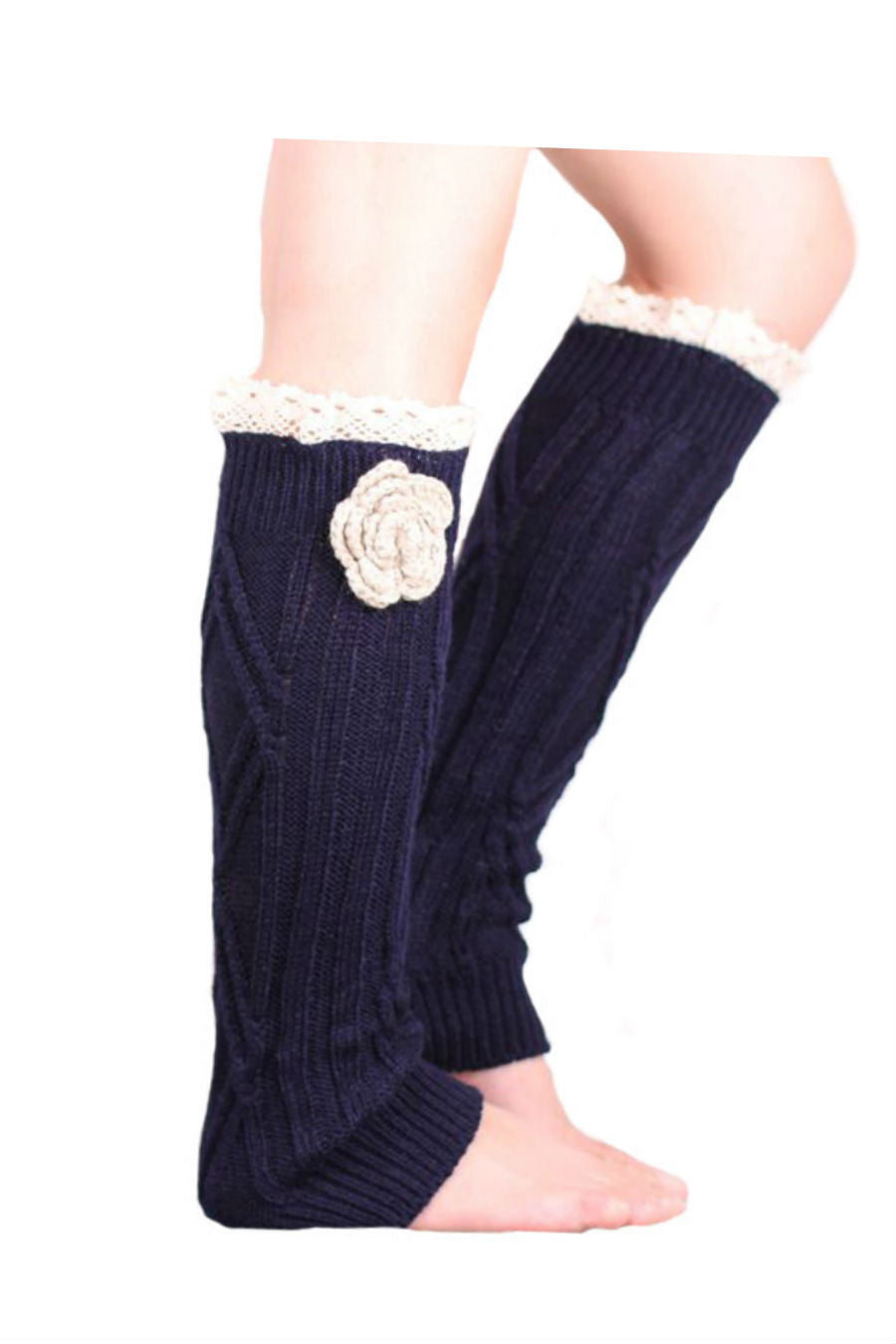 Retro Navy Lace Floral Decorated Knitted Leg Warmers
