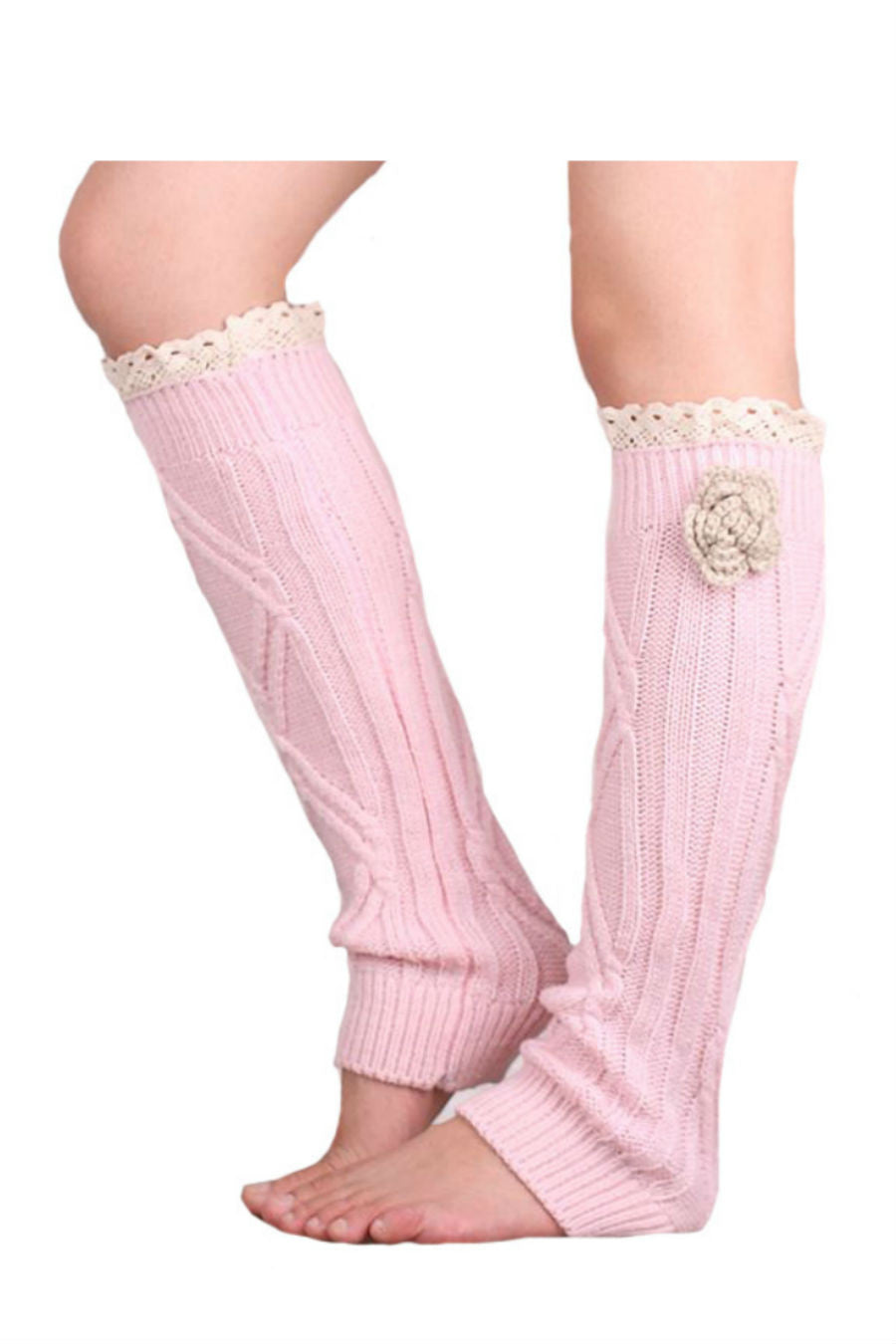 Pink Lace Knitted Leg Warmers