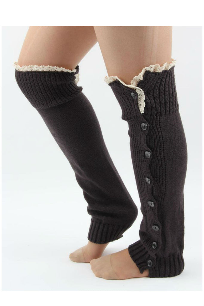 Dark Brown Lace And Button Decorated Knitted Leg Warmers
