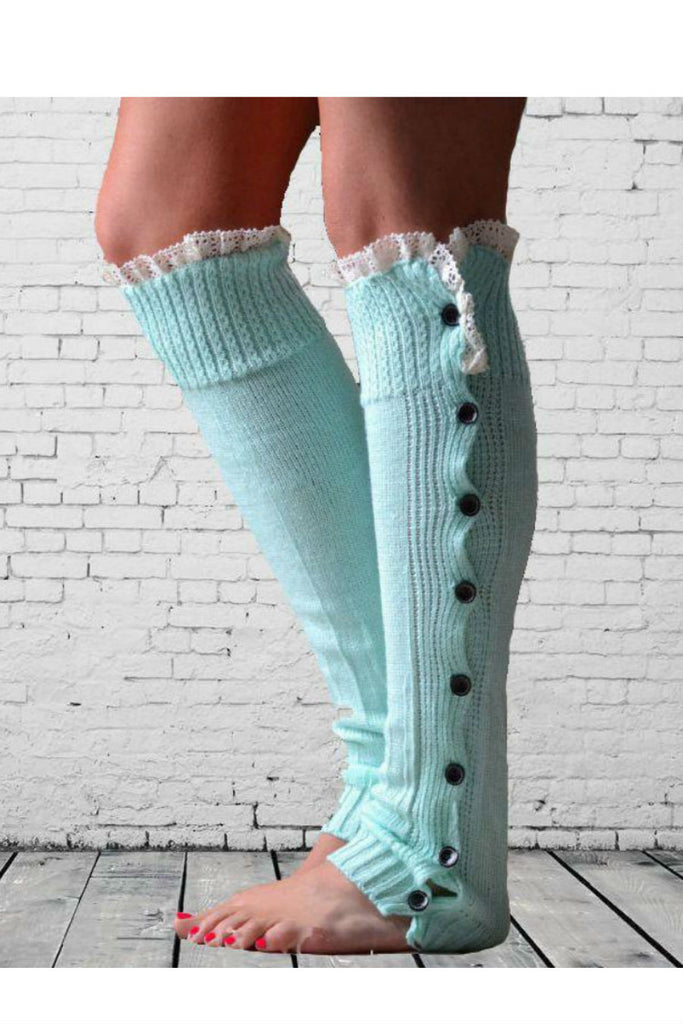 Pastel Blue Lace And Button Decorated Knitted Leg Warmers