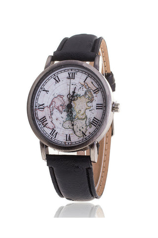 Black Map Pattern Watch