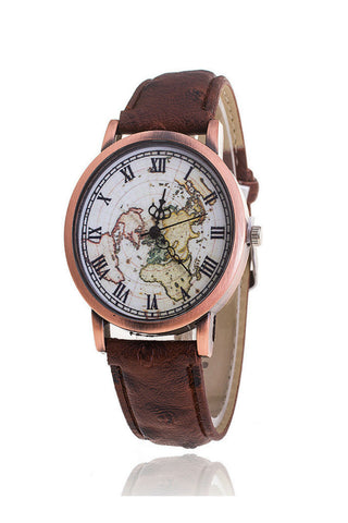 Brown Map Pattern Watch