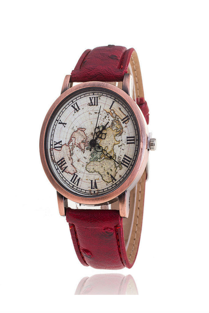 Unisex Vintage World Map Pattern Leather Strap Band Watch In Burgundy