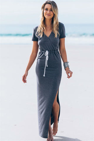Grey Short Sleeves Maxi Dress