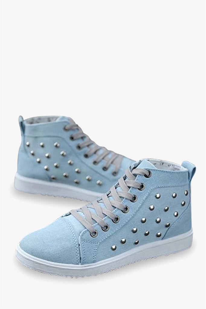 Fashion Sneakers With Rivets In Mint