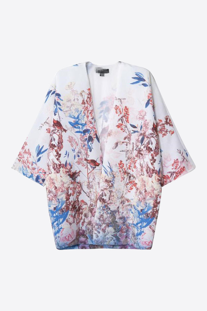 Cute White Birds And Floral Printed Kimono