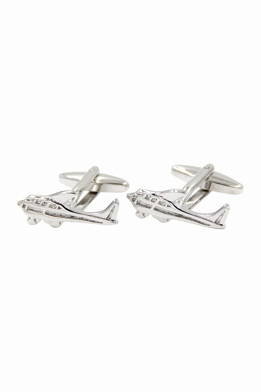 Solid Silver Men's Mini Airplane Shaped Cufflinks