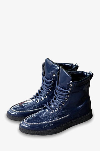 Patent Leather Navy Boots