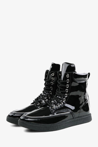 Patent Leather Lace Up Boots