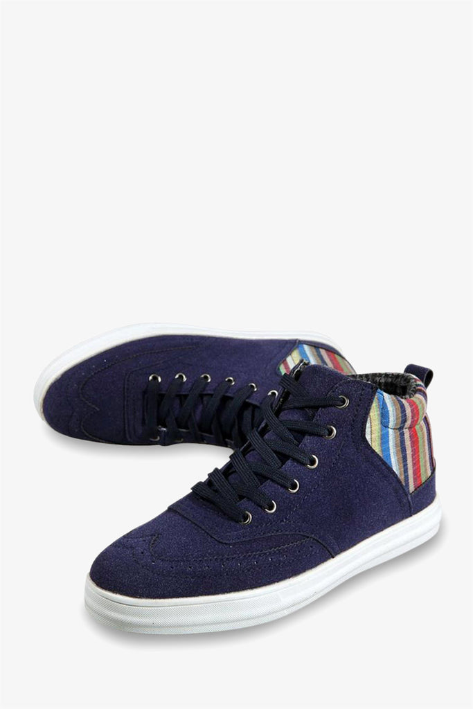 Suede High Top Sneakers In Navy