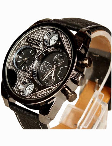 Chronograph Black Leather Strap Watch