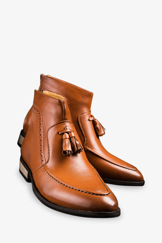 Tassels Brown Leather Boots