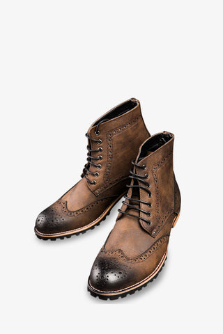Classic Brogue Boots In Brown