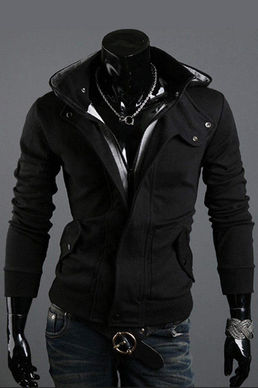 Men's Spring Slim Fit Black Hoodie