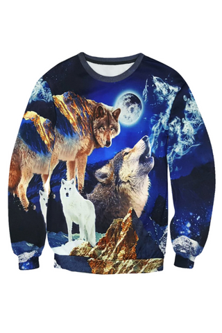 3D Wolf Digital Printed Sweater