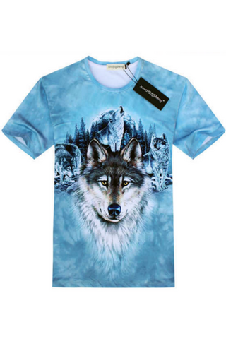 Blue 3D Wolf Printed T-Shirt