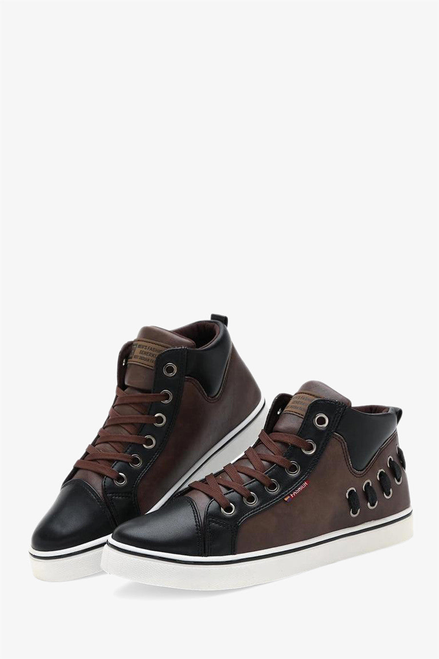 Men's High Top Sneakers In Brown