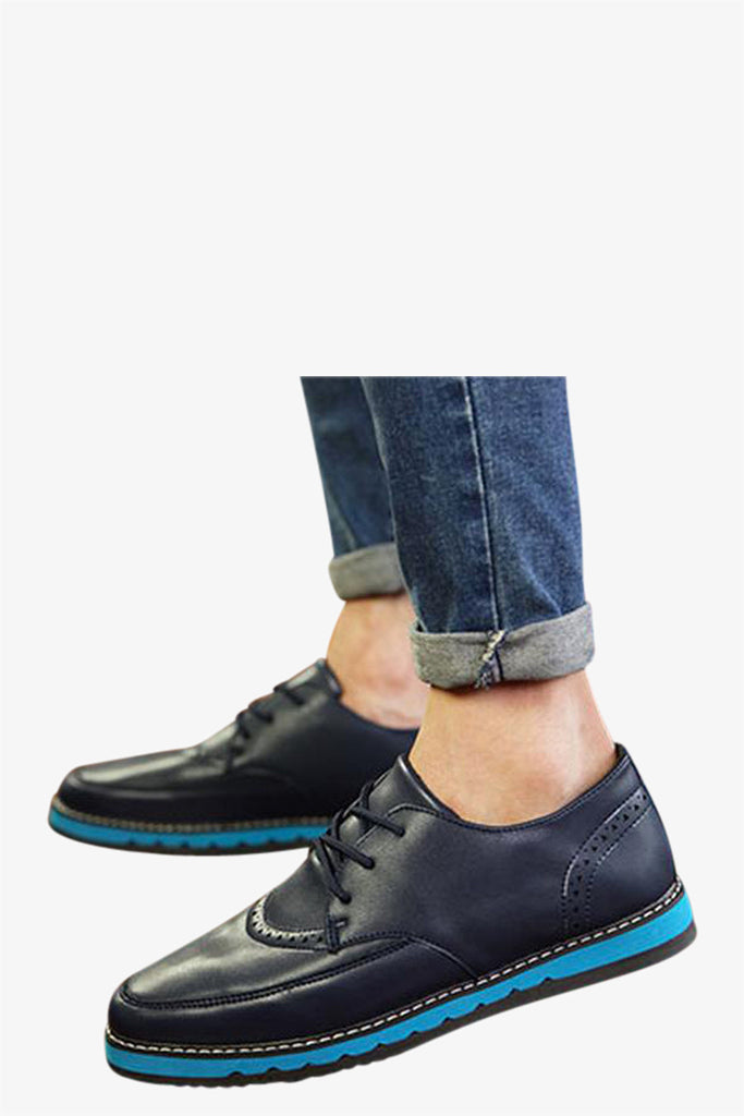 Casual Leather Loafers In Navy